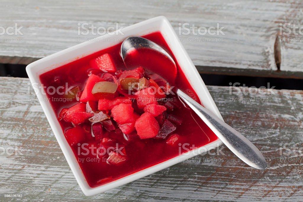 Beet Borscht Soup angled shot foto royalty-free
