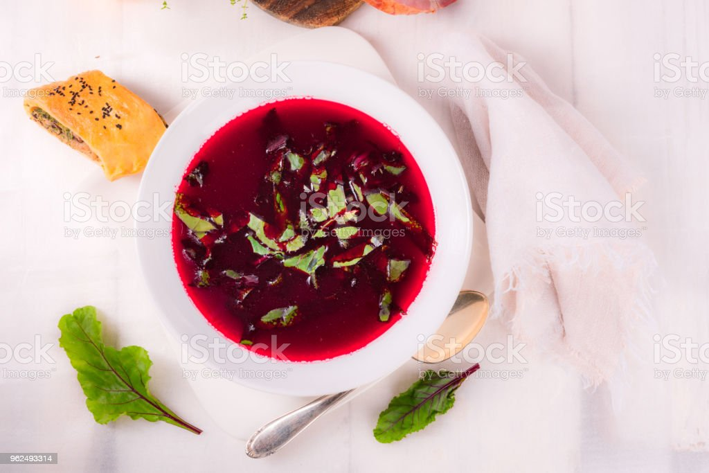 beet green soup stock photo