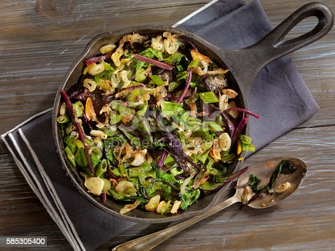 Beet Leaves Sautéed with Butter, Garlic and Onions -Photographed on Hasselblad H3D2-39mb Camera