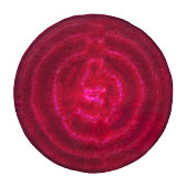 Beet circle portion on white background. Clipping path included.Some vegetables from