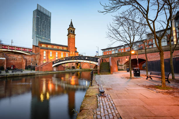 Beetham Tower Manchester Water way canal area in Manchester ,North west England canal stock pictures, royalty-free photos & images