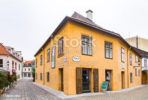 Baden, Austria - 13 October 2019: Beethoven house museum in the center of Baden bei Wien. Vienna Woods, Lower Austria.