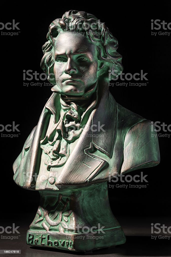 beethoven sculpture on black background stock photo