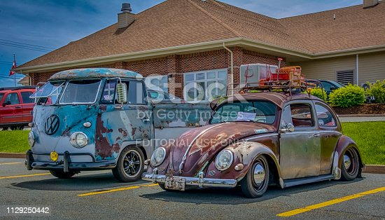 Halifax, Nova Scotia, Canada - June 3, 2018: A pair of vintage Volkswagen rat rods at local car show in Clayton Park area of Halifax