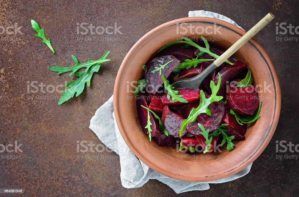 Beetroot  and arugula salad stock photo