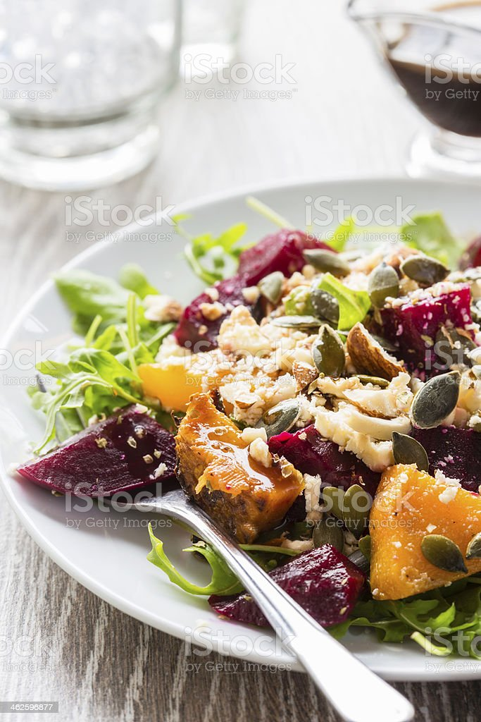 Beetroot and butternut salad stock photo