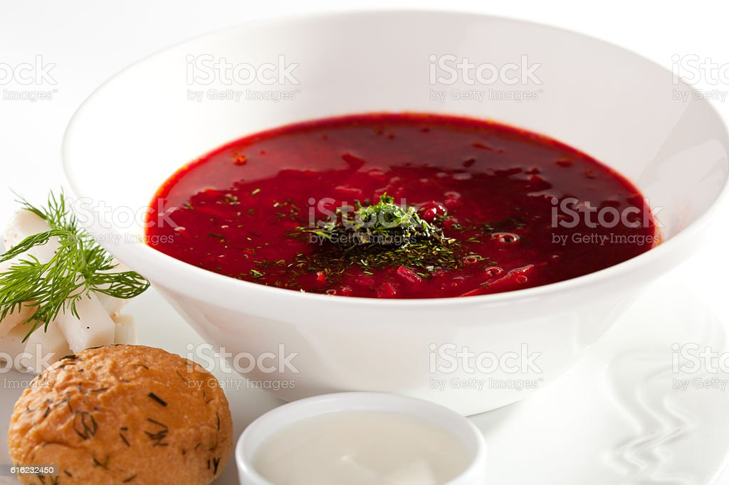 Beetroot and Cabbage Soup stock photo