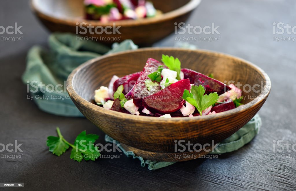 Beetroot and feta salad stock photo