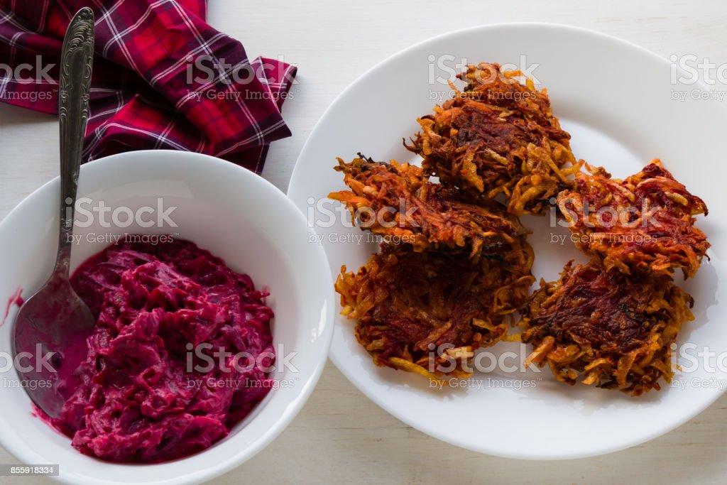 beetroot and potato rosti stock photo