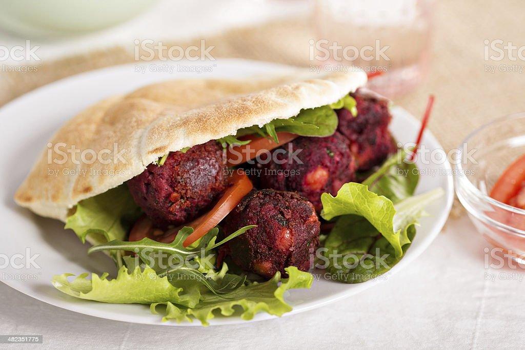 Beetroot falafel stock photo