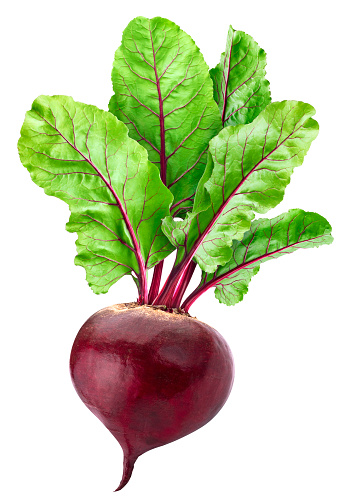 Beetroot isolated on white background with clipping path, one whole beet with leaves