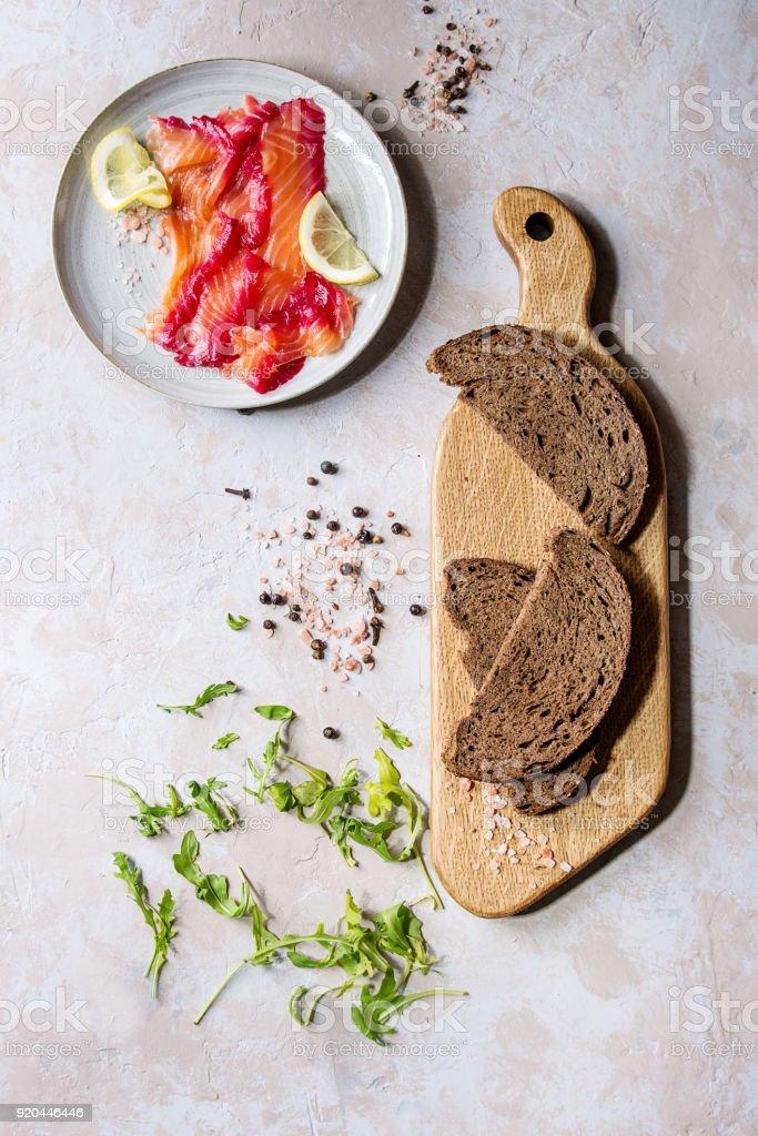 Beetroot marinated salmon stock photo