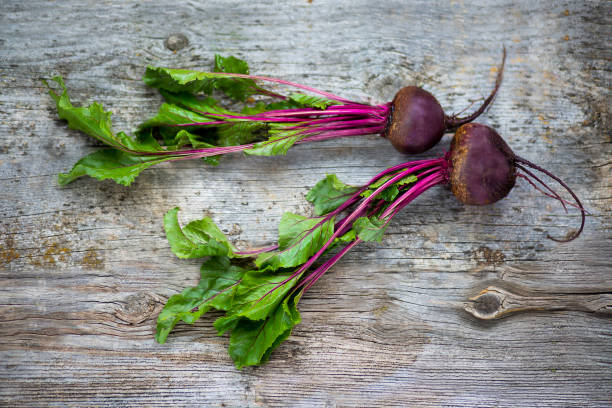 Beetroot on a rusty wood background. stock photo