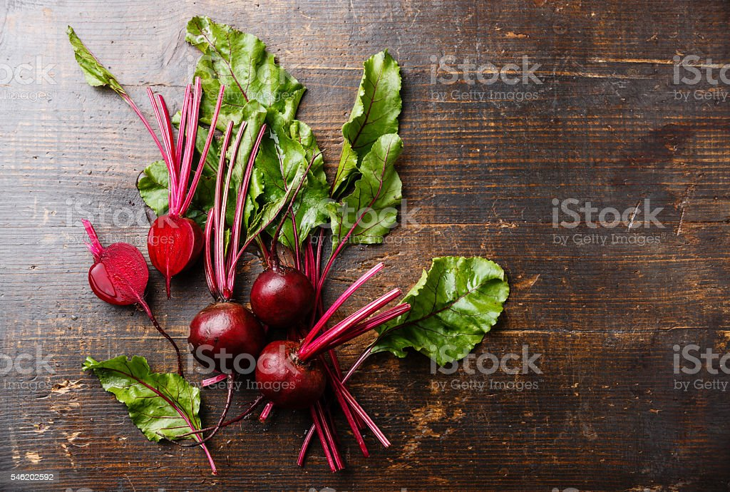 Beetroot on wooden background stock photo