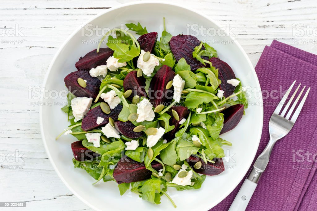Beetroot Salad Top View stock photo