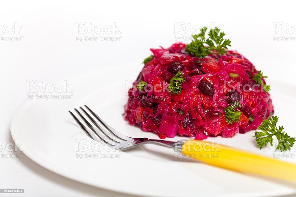 Beetroot salad. Vegetable salad. stock photo
