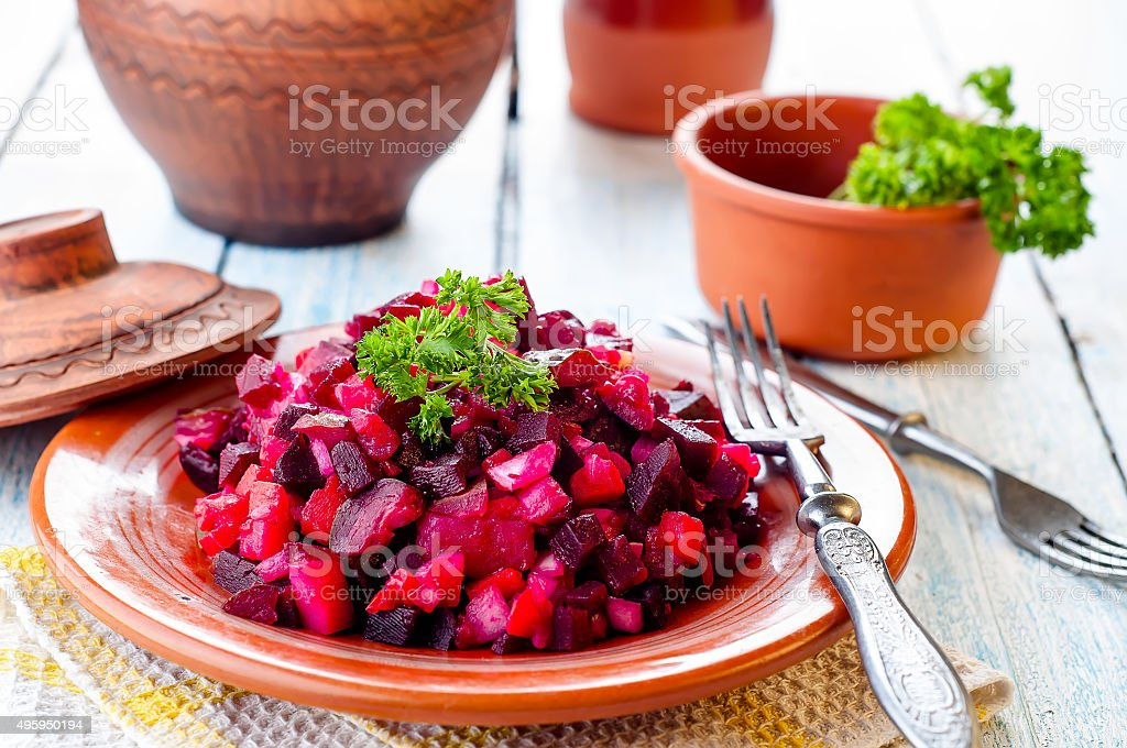 beetroot salad Vinegret stock photo