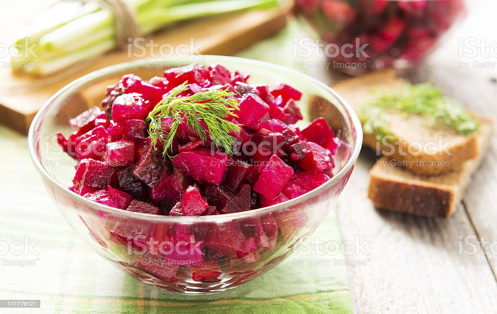 Beetroot salad with carrot and potato stock photo