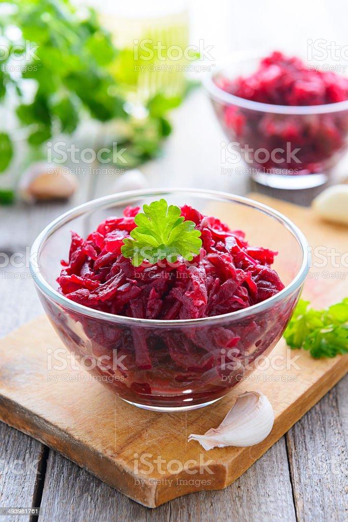 Beetroot salad with garlic stock photo