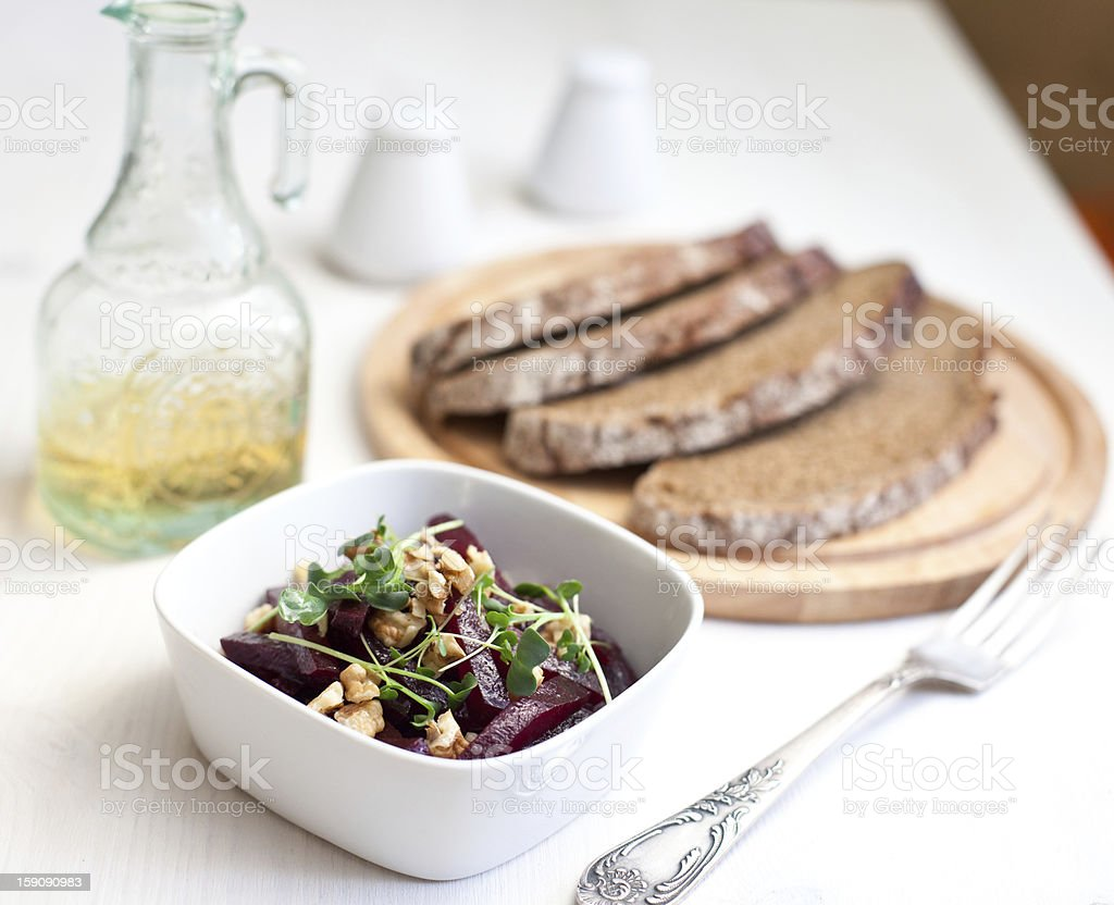 Beetroot salad with walnuts royalty-free stock photo