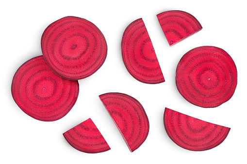 beetroot slices isolated on white background with clipping path and full depth of field. Top view. Flat lay.