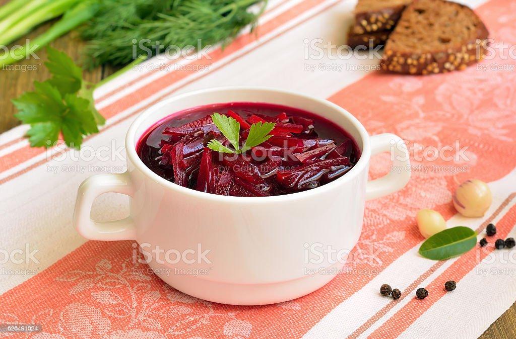 Beetroot soup, borscht stock photo