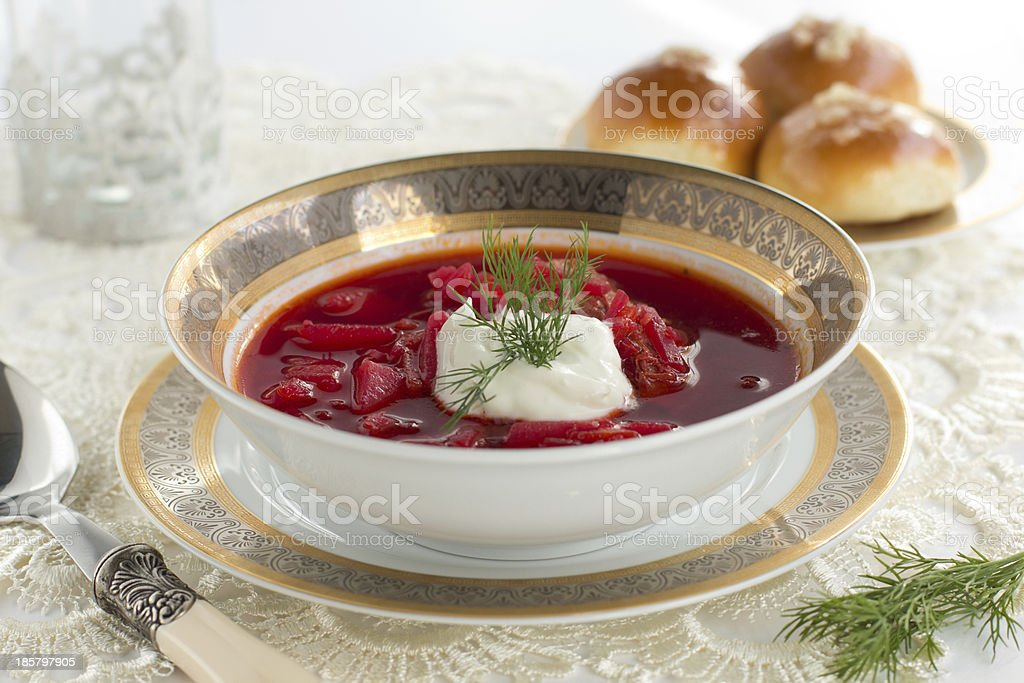 Beetroot soup in a white plate. stock photo
