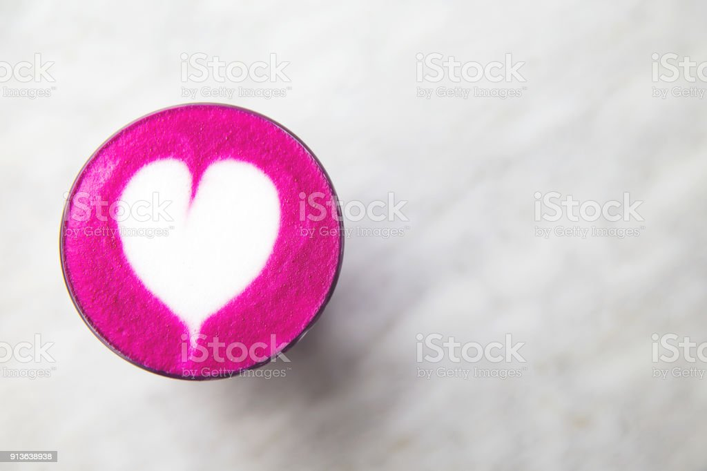 Beetroot Super Latte On Marble Background For Love Stock Photo