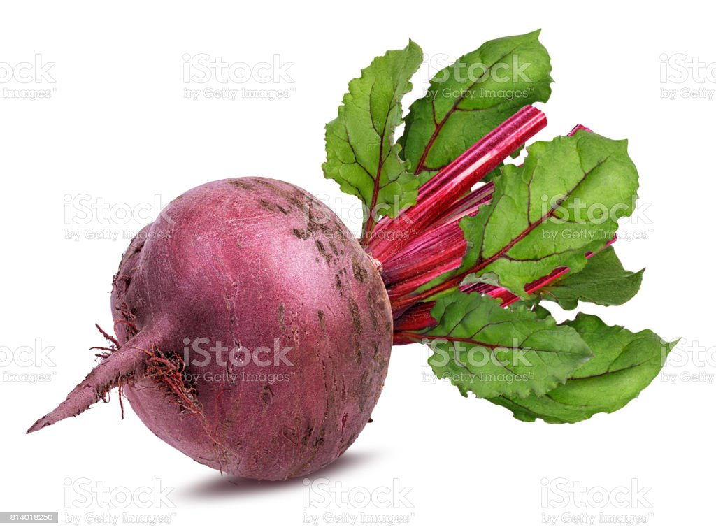 Beetroot with leaves isolated stock photo