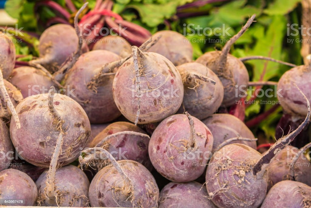 beetroots at farmers market stock photo
