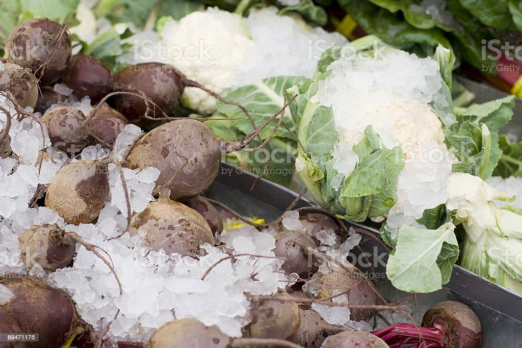 Beets and cauliflower on ice royalty-free stock photo