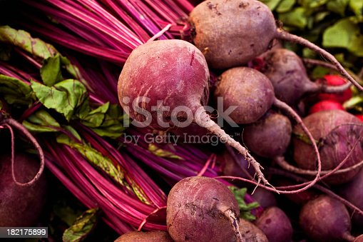 Beets at the farmers market, macro, shallow focus.