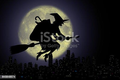 istock Befana di notte con luna