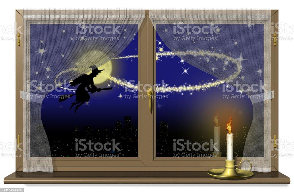 Befana Halloween Finestra con Candela - foto stock