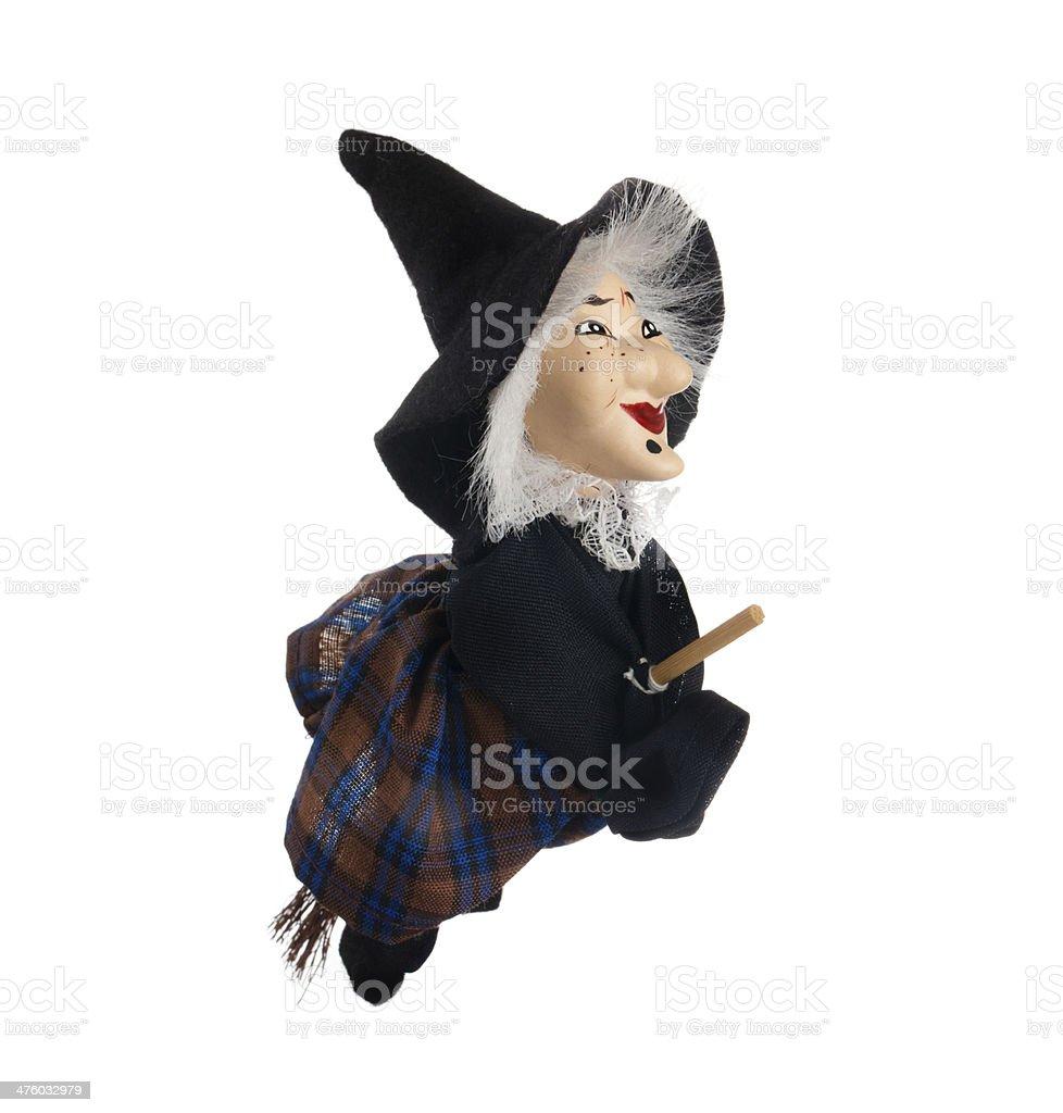 Befana, strega con scopa volante - foto stock