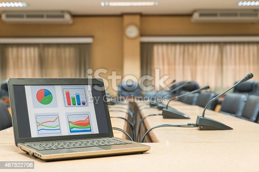 1064053478 istock photo Before a conference,Laptop in front of empty chairs 467322706