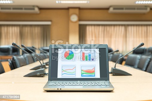 1064053478 istock photo Before a conference,Laptop in front of empty chairs 471794994