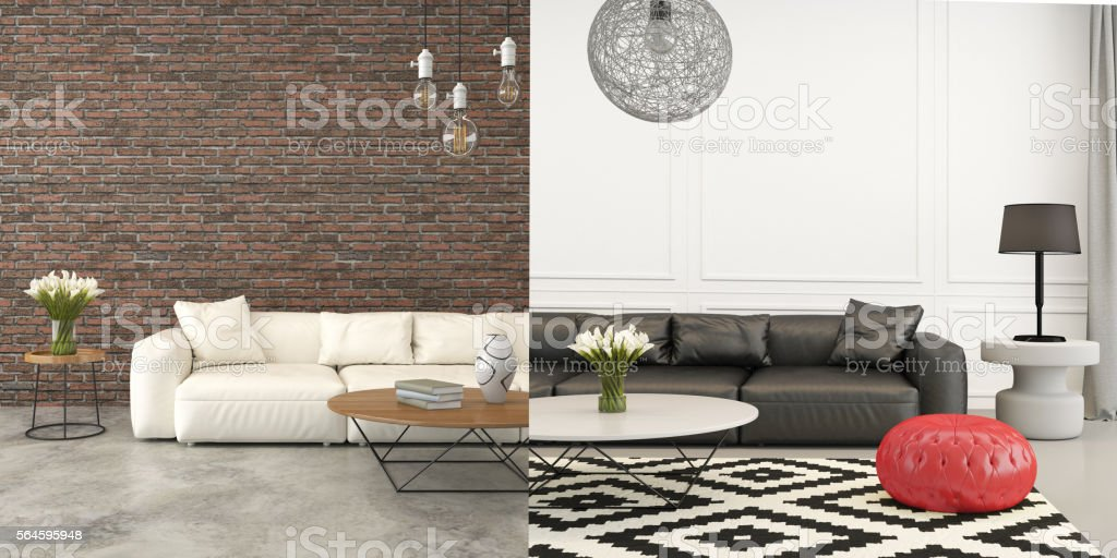 Before After Comparison Living Room Interior Stock Photo & More ...