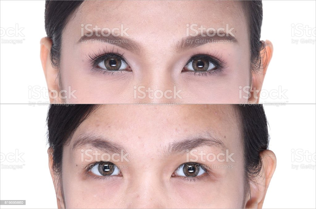 Before After, make up cosmetology on eye, eyeshadow, eyebrowns stock photo