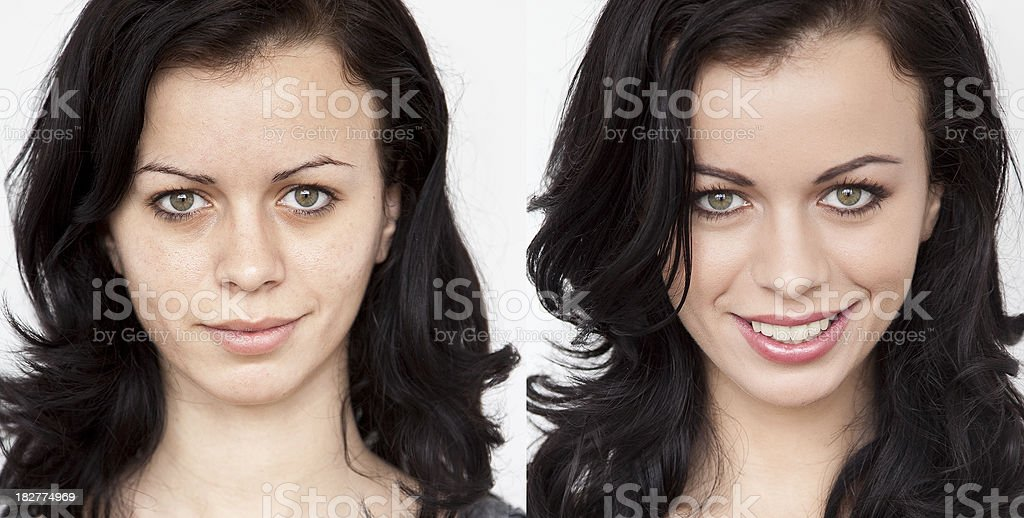 Before - After make-up stock photo