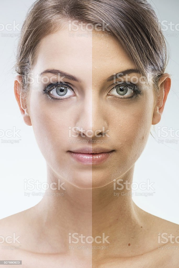 Before After - Plastic surgery face , tanning stock photo