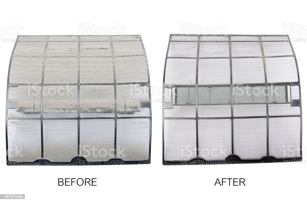 Before and after air conditioner dust in the filter stock photo