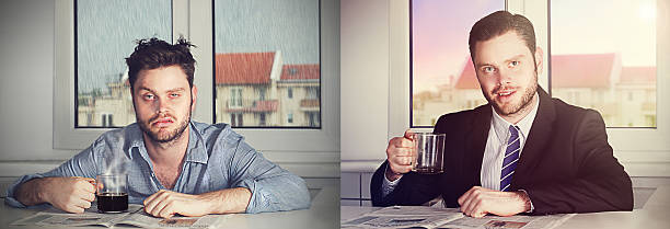 before and after coffee before and after coffee aftereffect stock pictures, royalty-free photos & images
