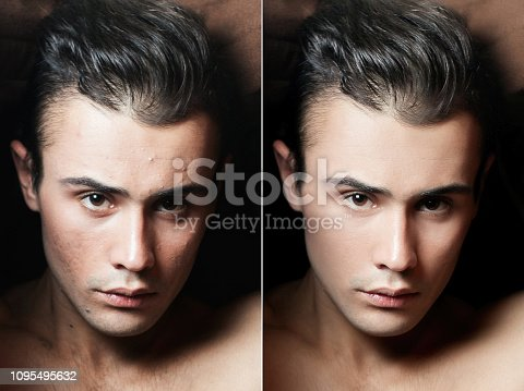 health, people, youth and beauty concept - Before and after cosmetic operation. Young man portrait, isolated on a white background. Before and after cosmetic or plastic procedure, anti-age therapy, removal of acne, retouching. studio shot