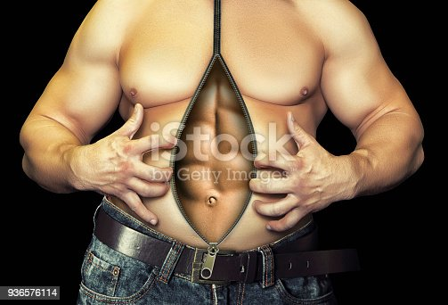 istock Before and after diet and workout. Isolated on black 936576114