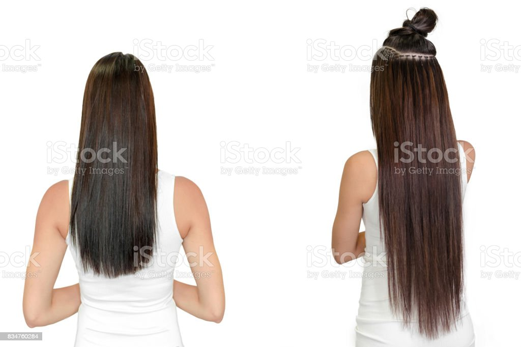 Antes e depois, extensão de cabelo - foto de acervo