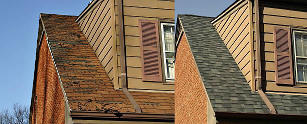 before and after images of a roofing job - new job bildbanksfoton och bilder