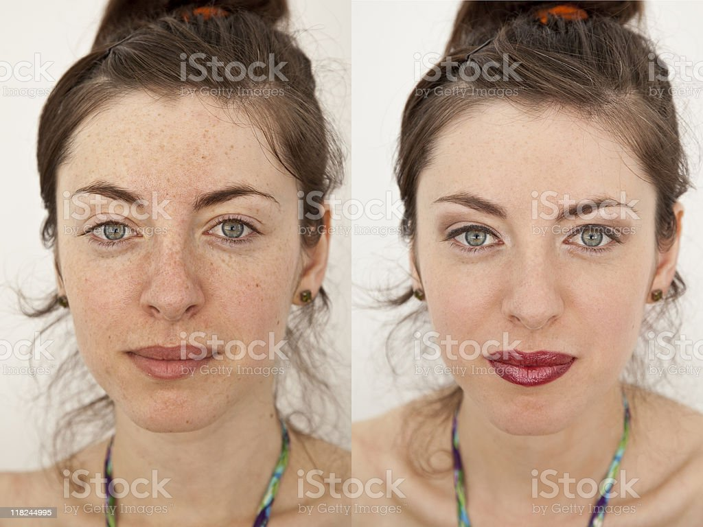 Before and after make up royalty-free stock photo