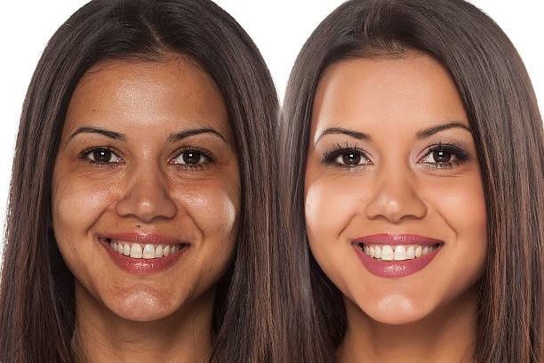 vor und nach dem make-up  - indianer make up stock-fotos und bilder