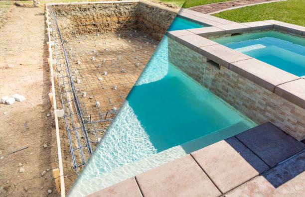 Vor und nach dem Pool baut Baustelle – Foto